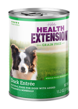 Health Extension Grain Free Duck Entree Canned dog food, new can packaging