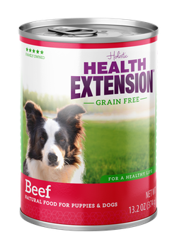 Health Extension Grain Free 95% Beef Canned dog food, new can packaging