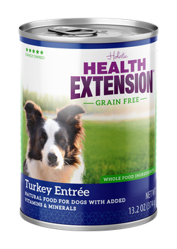 Health Extension Grain Free Turkey Entree Canned dog food, new can packaging