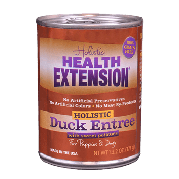 Health Extension Grain Free Duck Entree Canned dog food, old can packaging