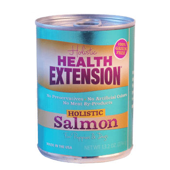 Health Extension 95% Salmon Canned dog food, old can packaging